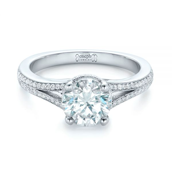14k White Gold Custom Diamond Split Shank Engagement Ring - Flat View -  102226