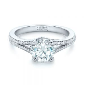 Custom Diamond Split Shank Engagement Ring