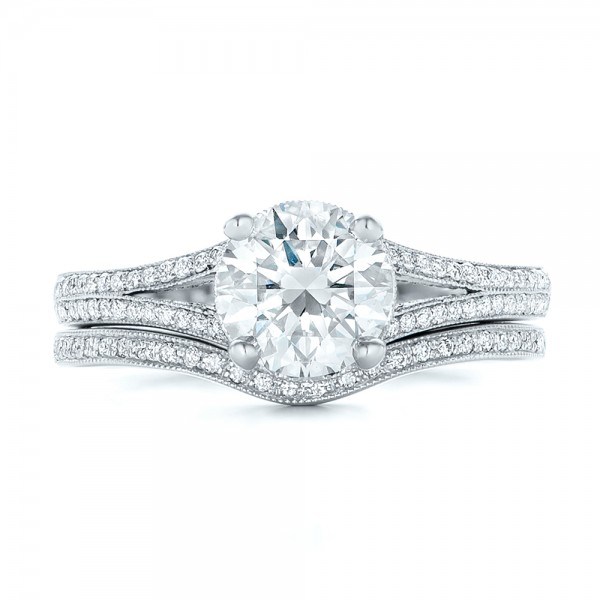 Custom Diamond Split Shank Engagement Ring - Image