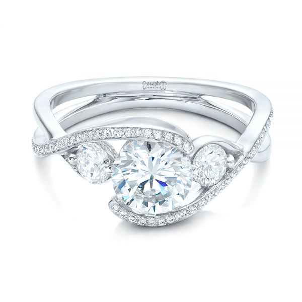 Custom Diamond Wrap Engagement Ring - Flat View -  101472 - Thumbnail