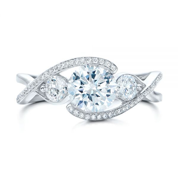 Custom Diamond Wrap Engagement Ring - Top View -  101472 - Thumbnail