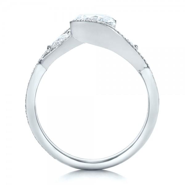 Custom Diamond Wrap Engagement Ring - Finger Through View