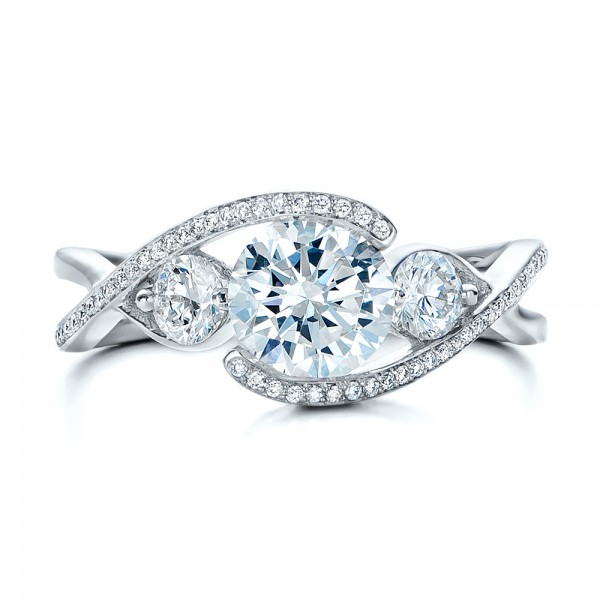 Custom Diamond Wrap Engagement Ring - Top View