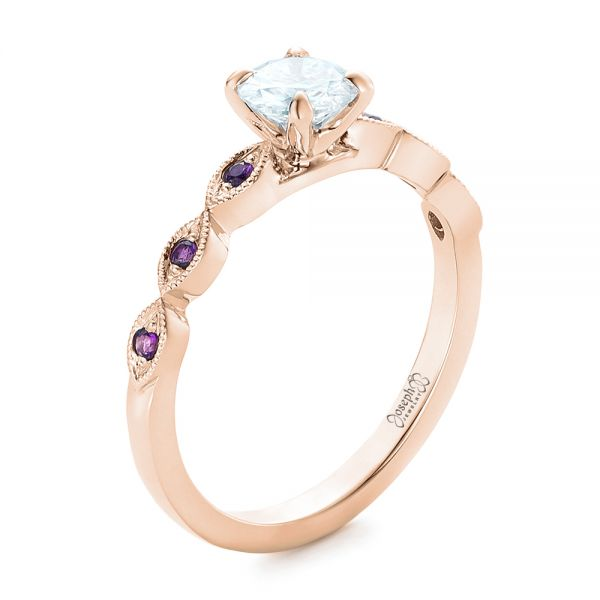 14k Rose Gold 14k Rose Gold Custom Diamond And Amethyst Engagement Ring - Three-Quarter View -