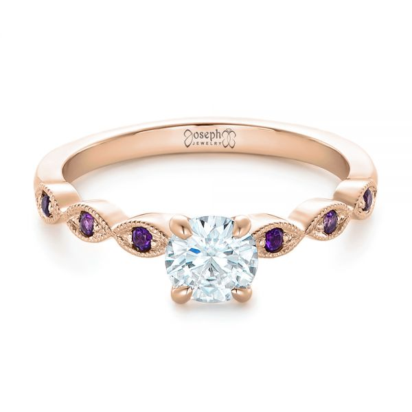 14k Rose Gold 14k Rose Gold Custom Diamond And Amethyst Engagement Ring - Flat View -