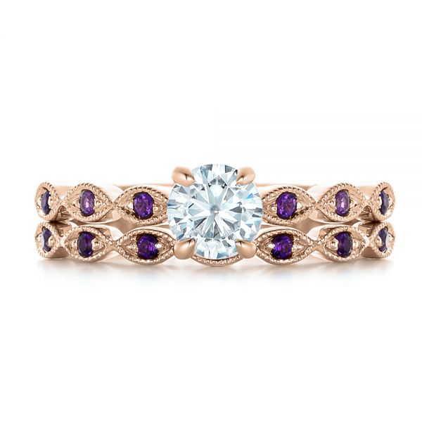 14k Rose Gold 14k Rose Gold Custom Diamond And Amethyst Engagement Ring - Top View -