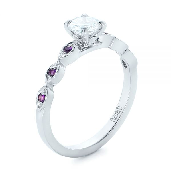 14k White Gold Custom Diamond And Amethyst Engagement Ring - Three-Quarter View -