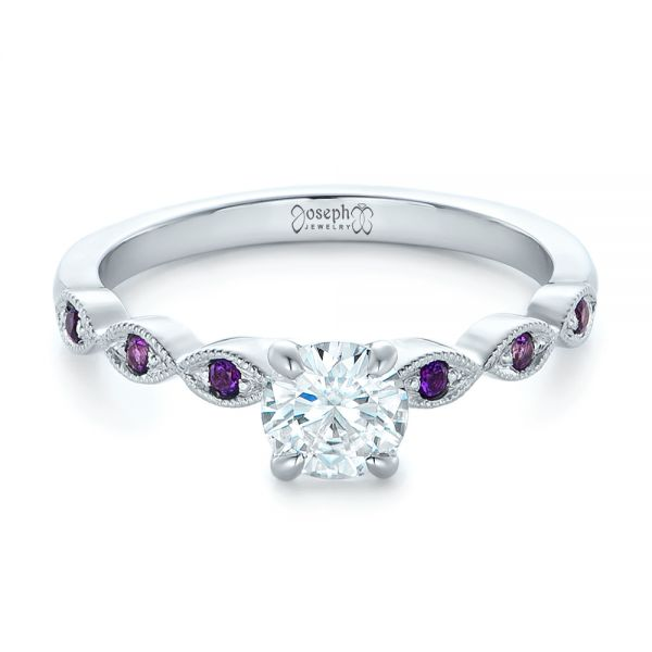 14k White Gold Custom Diamond And Amethyst Engagement Ring - Flat View -