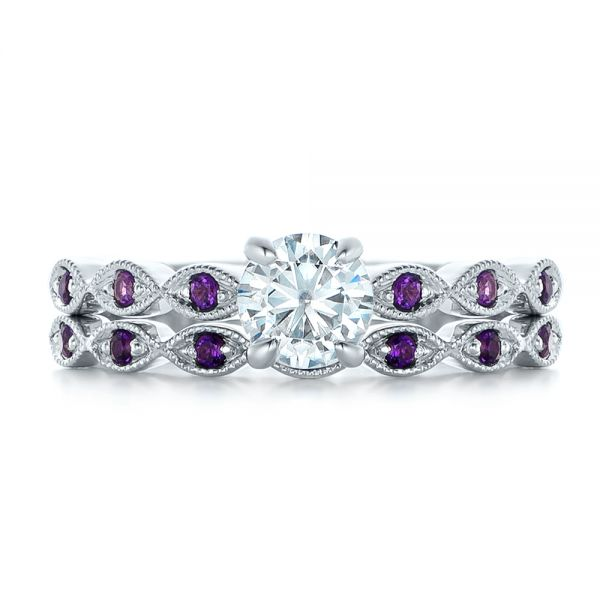 14k White Gold Custom Diamond And Amethyst Engagement Ring - Top View -