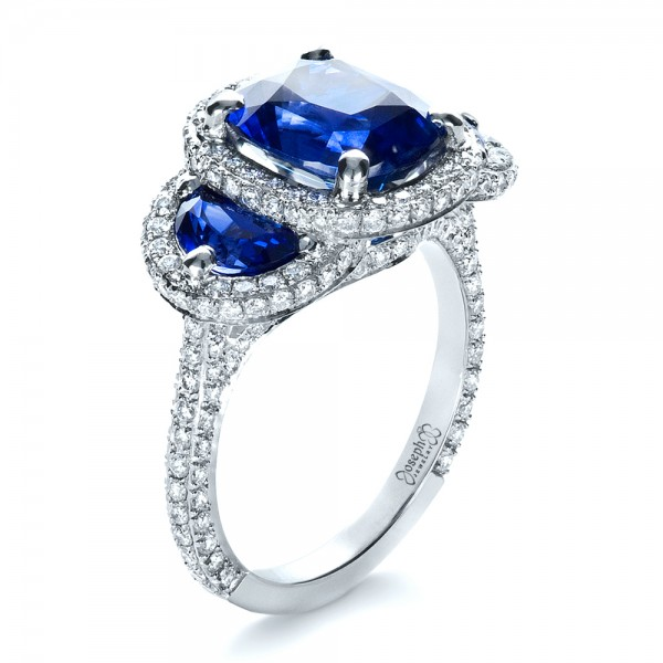 custom diamond and blue sapphire engagement ring - R2d2 Wedding Ring