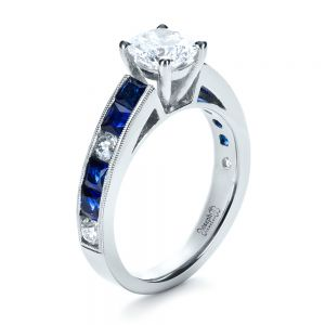 Custom Diamond and Blue Sapphire Engagement Ring - Image