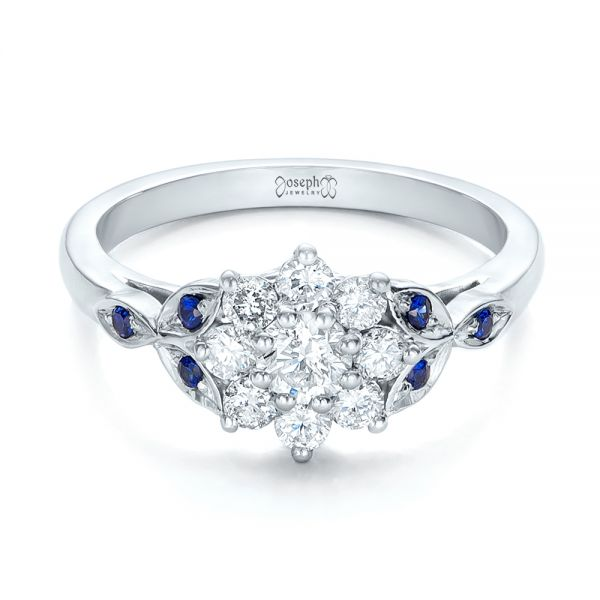 Custom Diamond and Blue Sapphire Engagement Ring - Flat View -  102202 - Thumbnail
