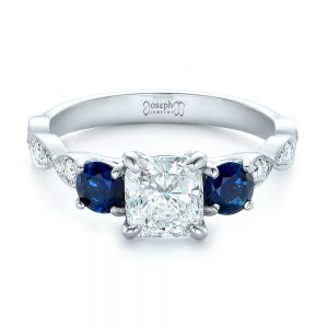 Custom Diamond and Blue Sapphire Engagement Ring