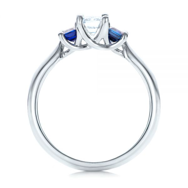 Platinum Platinum Custom Diamond And Blue Sapphire Engagement Ring - Front View -