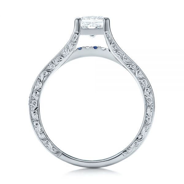 14k White Gold Custom Diamond And Blue Sapphire Engagement Ring - Front View -