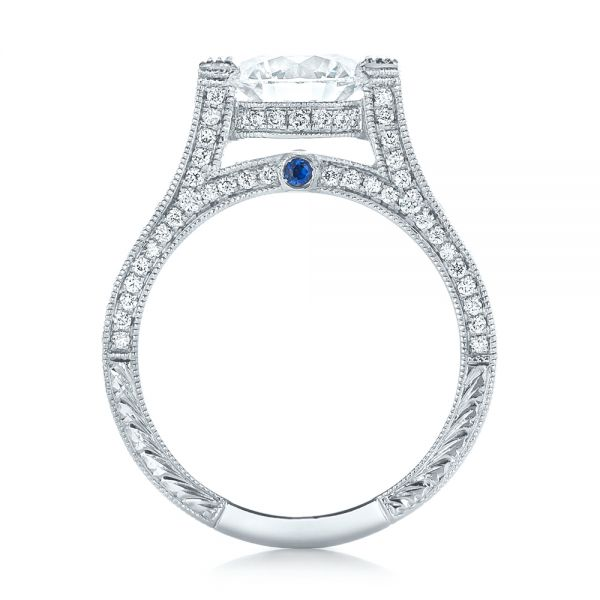 Platinum Custom Diamond And Blue Sapphire Engagement Ring - Front View -