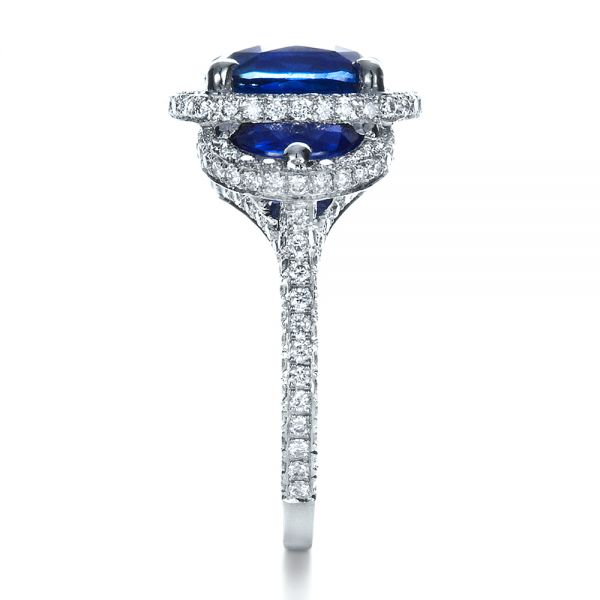 14k White Gold 14k White Gold Custom Diamond And Blue Sapphire Engagement Ring - Side View -