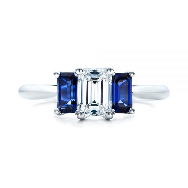 Platinum Platinum Custom Diamond And Blue Sapphire Engagement Ring - Top View -