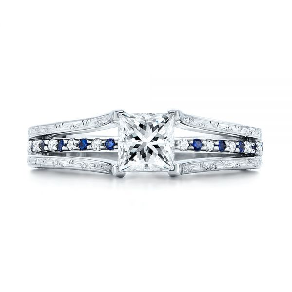 14k White Gold Custom Diamond And Blue Sapphire Engagement Ring - Top View -