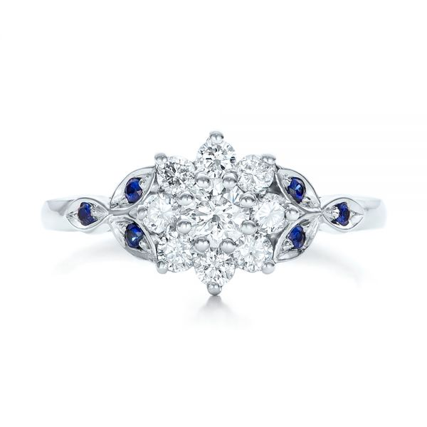 Custom Diamond and Blue Sapphire Engagement Ring - Top View -  102202 - Thumbnail