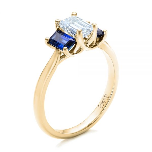 14k Yellow Gold 14k Yellow Gold Custom Diamond And Blue Sapphire Engagement Ring - Three-Quarter View -