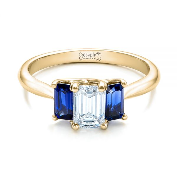18k Yellow Gold 18k Yellow Gold Custom Diamond And Blue Sapphire Engagement Ring - Flat View -