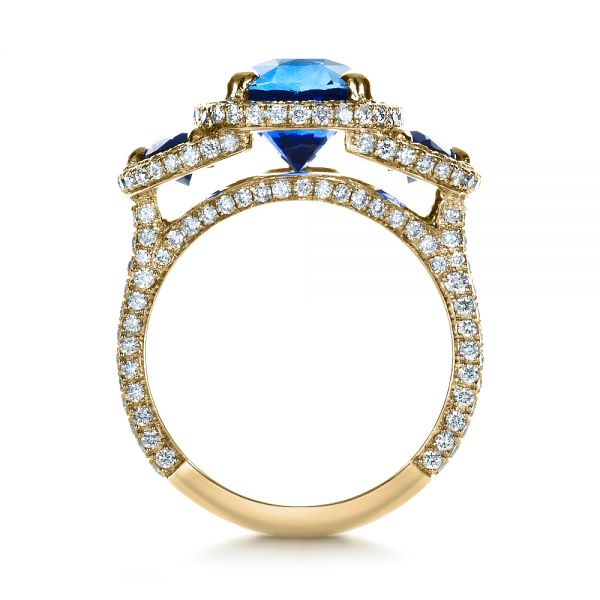18k Yellow Gold 18k Yellow Gold Custom Diamond And Blue Sapphire Engagement Ring - Front View -
