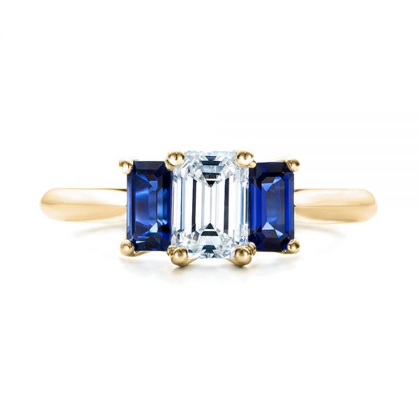 18k Yellow Gold 18k Yellow Gold Custom Diamond And Blue Sapphire Engagement Ring - Top View -