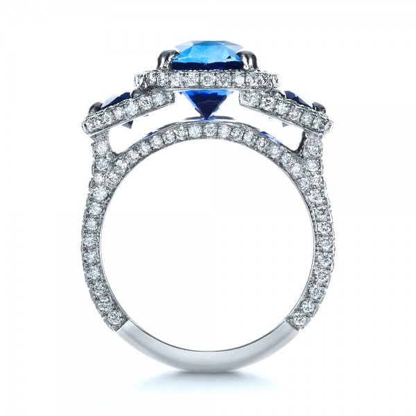 Custom Diamond and Blue Sapphire Engagement Ring - Finger Through View