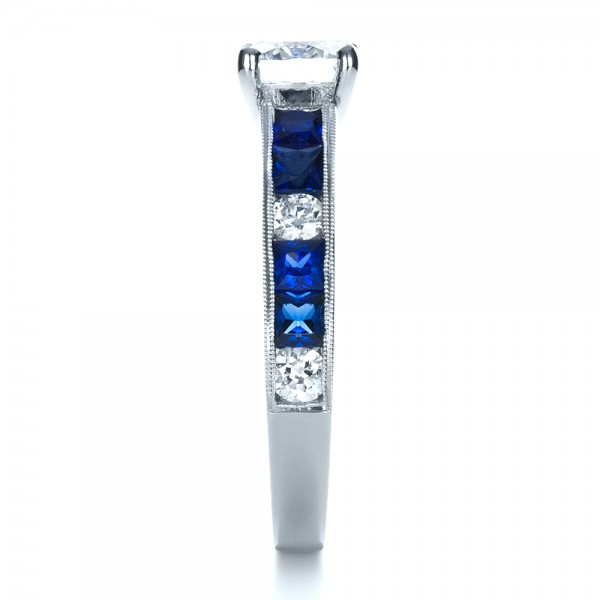 Custom Diamond and Blue Sapphire Engagement Ring - Side View