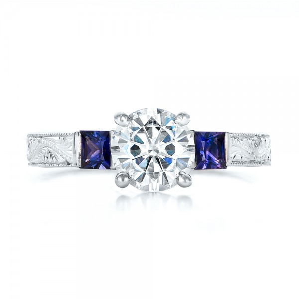 Custom Moissanite and Blue Sapphire Engagement Ring - Top View