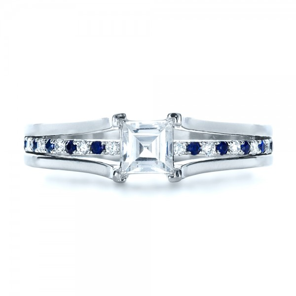 Custom Diamond and Blue Sapphire Engagement Ring - Top View