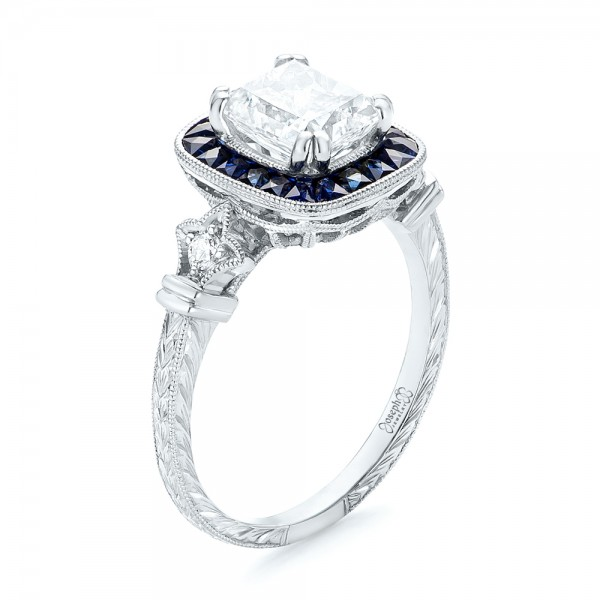 Custom Diamond and Blue Sapphire Halo Engagement Ring