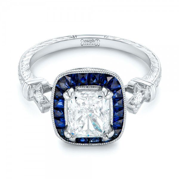 Custom Diamond and Blue Sapphire Halo Engagement Ring - Flat View -  102889 - Thumbnail