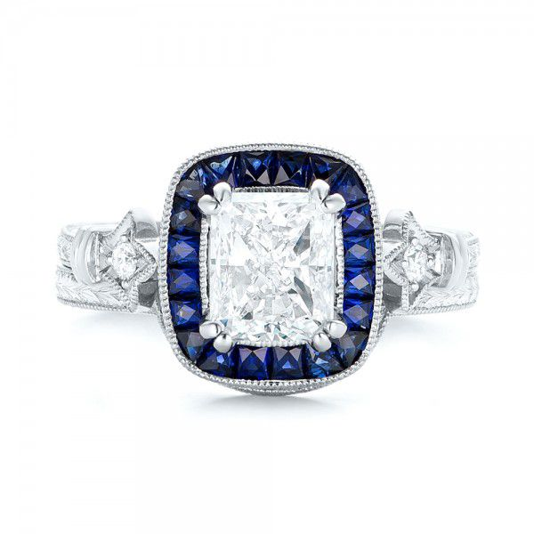 Custom Diamond and Blue Sapphire Halo Engagement Ring - Top View -  102889 - Thumbnail