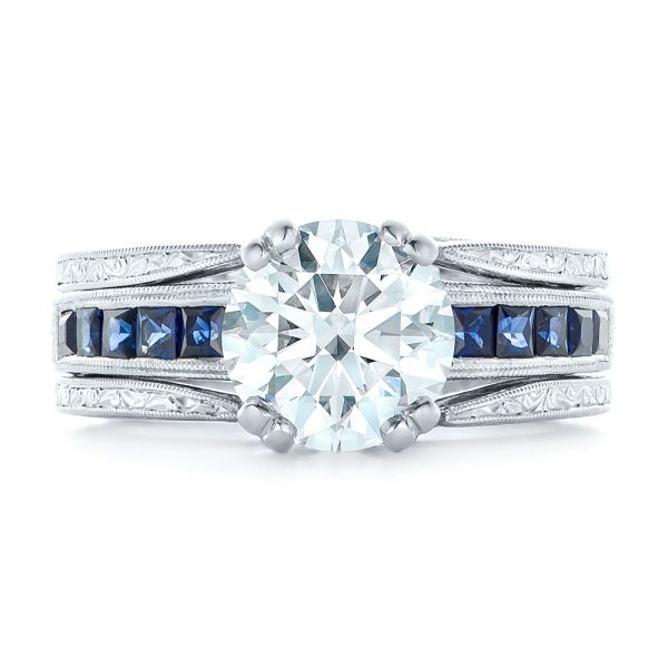 Custom Diamond and Blue Sapphire Interlocking Engagement Ring - Top View -  102340 - Thumbnail