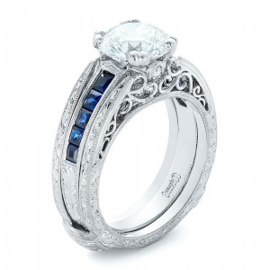 Custom Diamond and Blue Sapphire Interlocking Engagement Ring
