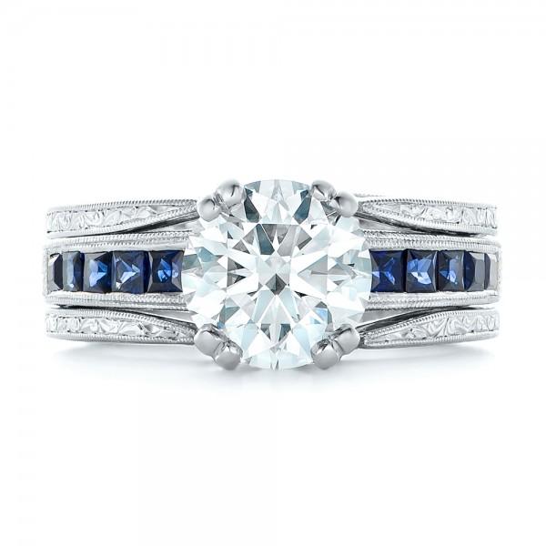 Custom Diamond and Blue Sapphire Interlocking Engagement Ring - Top View