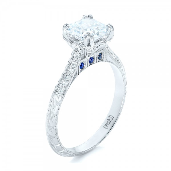 Diamond and Blue Sapphire Knife Edge Engagement Ring