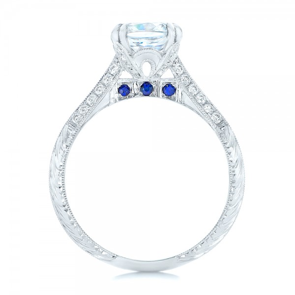 Diamond and Blue Sapphire Knife Edge Engagement Ring - Finger Through View