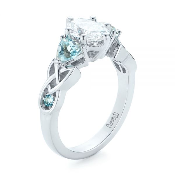 14k White Gold Custom Diamond And Blue Topaz Engagement Ring - Three-Quarter View -