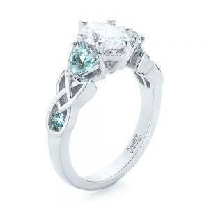 Custom Diamond and Blue Topaz Engagement Ring - Image