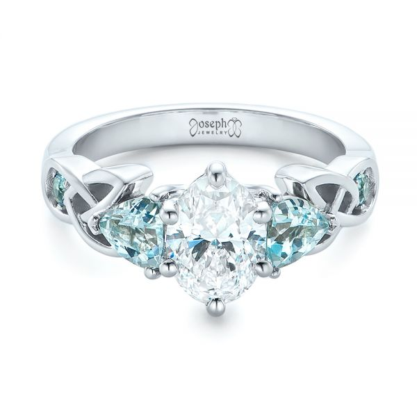 14k White Gold Custom Diamond And Blue Topaz Engagement Ring - Flat View -