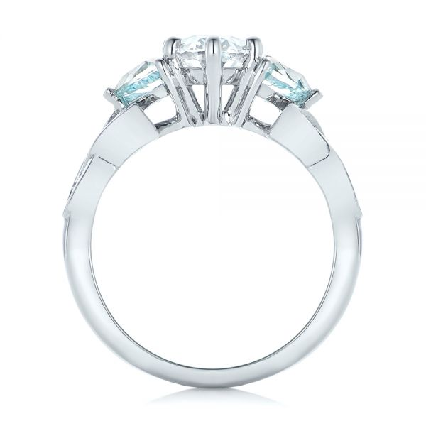 14k White Gold Custom Diamond And Blue Topaz Engagement Ring - Front View -