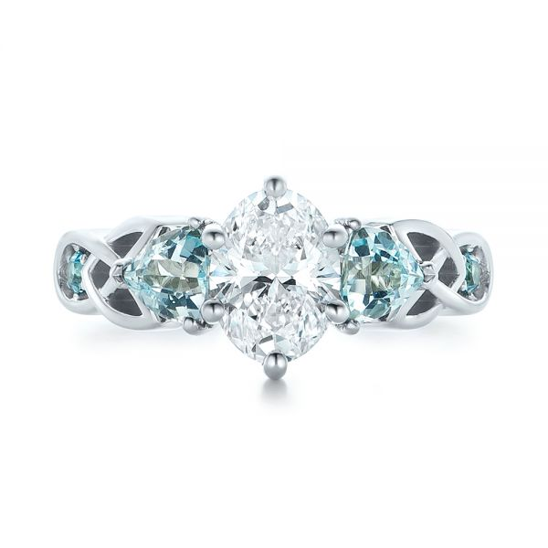 14k White Gold Custom Diamond And Blue Topaz Engagement Ring - Top View -