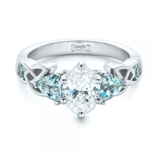 Custom Diamond and Blue Topaz Engagement Ring