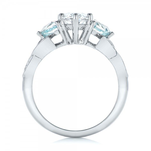 Custom Diamond and Blue Topaz Engagement Ring - Finger Through View