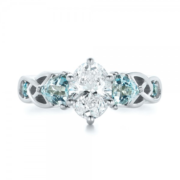 Custom Diamond and Blue Topaz Engagement Ring - Top View
