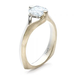 Custom Diamond and Brushed Metal Engagement Ring - Image
