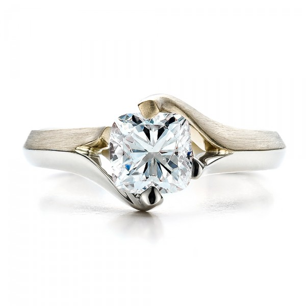 Custom Diamond and Brushed Metal Engagement Ring - Top View